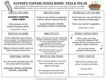 Author's Purpose Choice Board/ Menu (Support Pages and Task Cards Included)