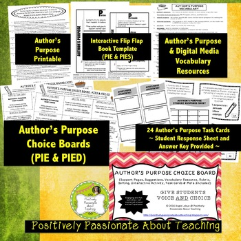 Author's Purpose Choice Board/ Menu (Support Pages and Tas