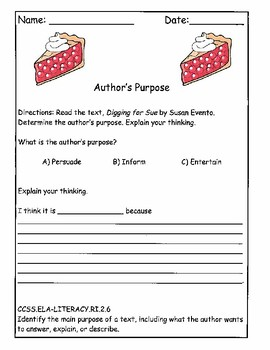 Author's Purpose Differentiation Worksheets