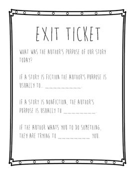 Author's Purpose Exit Ticket