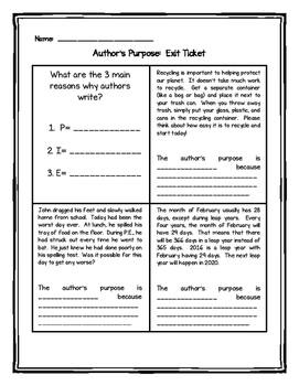 Author's Purpose Exit Tickets