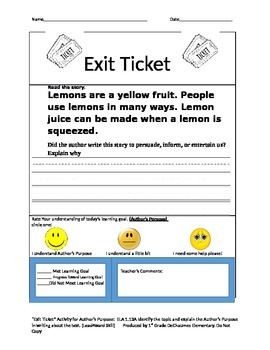 Author's Purpose Exit Tickets short Stories Do Now Warm Up 1st 2nd 3rd Grade