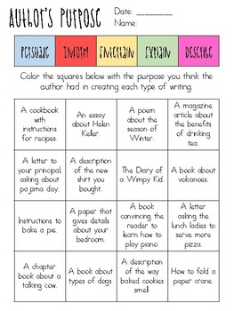 Author's Purpose FREE identify and color activity