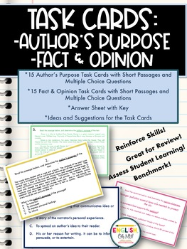 Task Cards: Author's Purpose, Fact & Opinion, Multiple Choice