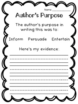 Author's Purpose: Flipchart, Worksheets, and Extra Resources