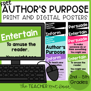 Author's Purpose Four Free Posters for 2nd - 5th Grade