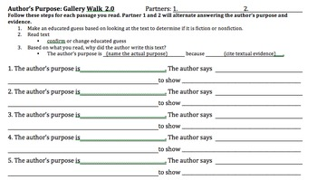 Author's Purpose Gallery Walk Partner Sheet