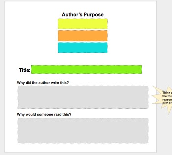 Author's Purpose: Google Slide Anchor Chart and Student In