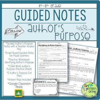 Author\'s Purpose, Guided Notes, Worksheets, Practice by English Oh My
