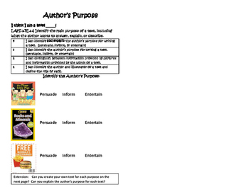 Author's Purpose Interactive Journal or Exit Ticket