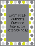 Author's Purpose Interactive Notebook Page
