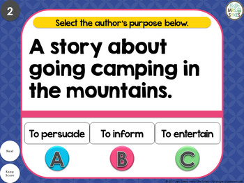 Author's Purpose ~ Interactive PPT game with 36 questions, grades 2-4