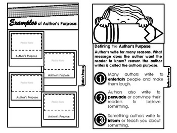 The Author's Purpose Interactive Tab Booklet
