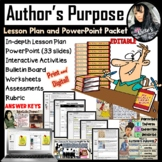Author's Purpose Lesson Plan and PowerPoint PACKET (88 pages!!) EDITABLE!!!