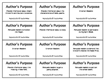 Author's Purpose: Literary Analysis Task Cards