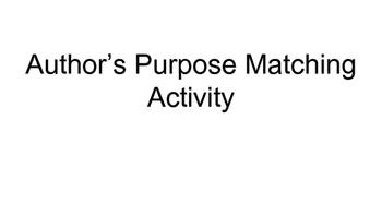 Author's Purpose Matching Activity