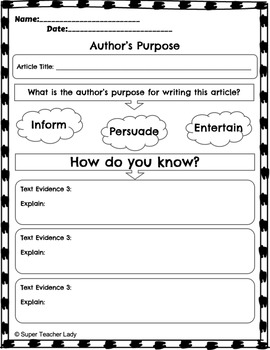 Author's Purpose (NewsELA & Informational Text Graphic Organizers)
