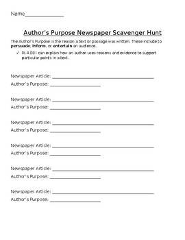 Author's Purpose Newspaper Article