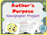 Author's Purpose Newspaper Project - Great for End of Year!