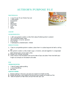 Author's Purpose PIE Recipe