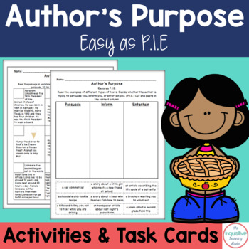 Author's Purpose (PIE): Task Cards, Game, Posters and Worksheets