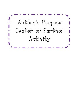 Author's Purpose Partner or Center Task Card Activity