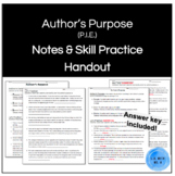 Author's Purpose (P.I.E.) Notes Handout & Practice With An