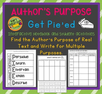 Author's Purpose - Pie'ed Student Activities and Interacti