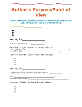 Author's Purpose/Point of View Cloze Notes & Activity