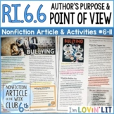 Author's Purpose & Point of View RI.6.6 | Bullying Article #6-11