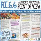 Author's Purpose & Point of View RI.6.6   Too Much Sugar Article #6-10