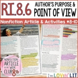Author's Purpose & Point of View RI.8.6 | Instagram Influencers Article #8-10