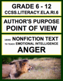 Author's Purpose Point of View with SEL Nonfiction Article: How to Express Anger