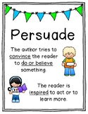 Author's Purpose Poster Set - Persuade, Inform, Entertain