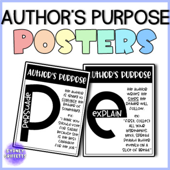 Author's Purpose Posters & Bulletin Board Headers for ALL GRADES