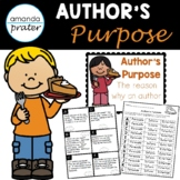Author's Purpose:  Posters, Center Activity, Flipbook, and Worksheets!
