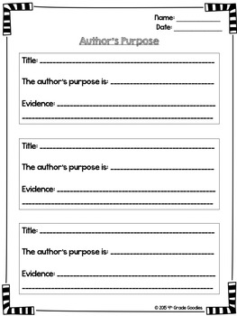 Author's Purpose (Posters and Graphic Organizer)
