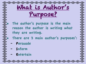 Author's Purpose PowerPoint and Activities