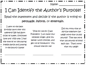 Author's Purpose Practice Pages/Quick Check Assessments