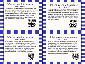 Author's Purpose QR Code Task Cards: Informational, Opinion, Narrative!