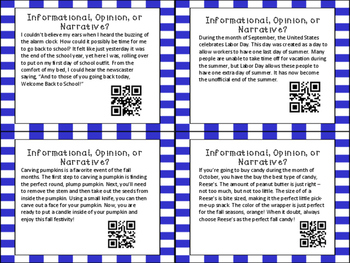 Author's Purpose QR Code Task Cards: Informational, Opinio