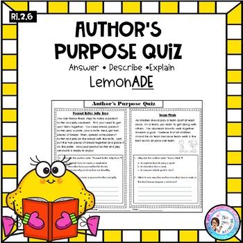Author's Purpose Quiz - Explain, Describe, Answer RI.2.6