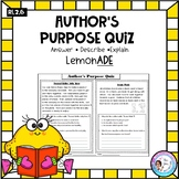 Author's Purpose Quiz - Explain, Describe, Answer RI.2.6