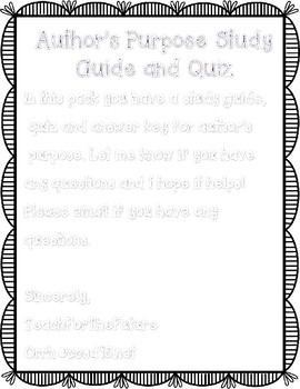 Author's Purpose Quiz and Study Guide