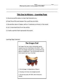 This Day in History: Author's Purpose and Learning Page Activities