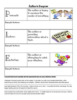 Author's Purpose Reference Sheet (Anchor Chart)