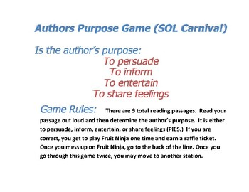 Author's Purpose Review Game