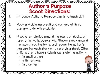 Author's Purpose Scoot w/ 13 Nonfiction Texts RI.2.6 To Answer,Explain,Describe