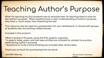 Author's Purpose:  Slideshow
