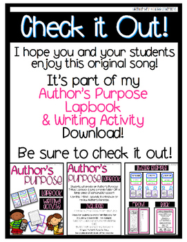 FREEBIE! Author's Purpose Song {Color and Black & White Posters}